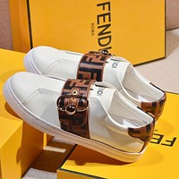 FENDI new printed letters ladies casual white shoes Coffee
