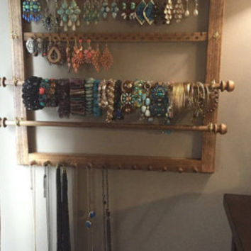 Jewelry Organizer -  Holds 40 pairs Earrings,  12 Necklace Pegs, 2 Bracelet Bars. 4 Ring Hooks, Wall Mount