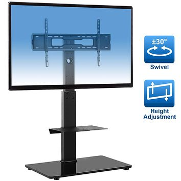 """YOMT Swivel Floor TV Stand with Mount for Most TVs Up to 65"""",Universal TV Stand with Improved TV Stability,Height Adjustable&Cable Management,Black"""