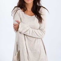 Elan Clothing Knit Top with Pocket in Sand SF1090