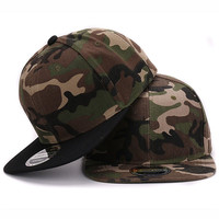 Camo snapback 100% polyester cap blank flat baseball cap with no embroidery sport mens cap and hat for men and women