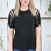 Caged Cut Out Modal Short Sleeve Top {Black}