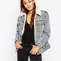 ASOS Denim Jacket in Mid Stone Wash with Borg Lining and Collar