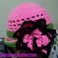 Pink and green sunhat- summmer hats for adult- teens summer hat- handmade hats- fashion hats- flower hats- kids colorful hats-SUMH004