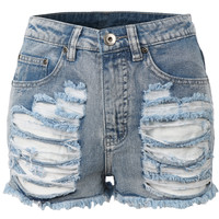 LE3NO Womens High Waisted Distressed Denim Shorts (CLEARANCE)