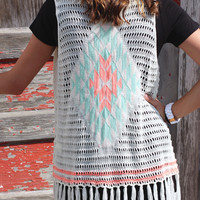 Neon Tribal Knit Vest {Ivory/Coral}