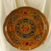 Vintage Hand Painted Mexican Wood Coffee Table Tray