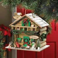 Christmas Holiday Mountain Lodge Birdhouse