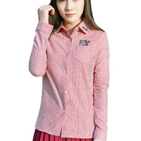 Cat Embroidered Long Sleeve Button Down Shirt