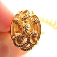 Antique Dragon Ring, Solid 14K Gold, with Intricate Detail Work, For Women or Men, Victorian Era