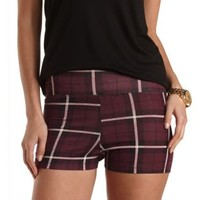 Stretchy Plaid Print Bike Shorts by Charlotte Russe - Oxblood