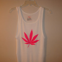 Hot Pink Marijuana Leaf Wife Beater Top S-XL