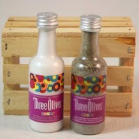 Salt & Pepper Shaker from Upcycled Three Olives Loopy Mini Liquor Bottles