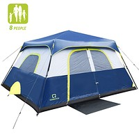 QOMOTOP Camping Tents, 4/6/8/10 Person Instant Set Up Within 1 Minute Tent Equipped with Rainfly and Carry Bag, Water-Proof Pop up Tent with Electric Cord Acess 8 Person