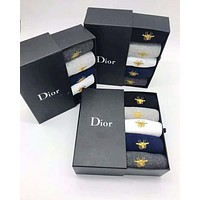 Dior Fashionable Women Men Bee Breathable Pure Cotton Sport Socks