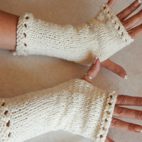 White  Fingerless gloves long knitted armwarmers with light weight yarn for year round wear