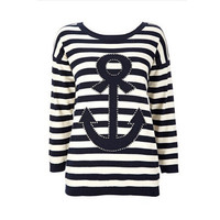 SIMPLE - Anchor Design Striped Design Slim Fit Long Sleeve Round Necked Top a11104