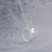 925 Sterling Silver Cute Butterfly Pendant Necklace,a perfect gift !