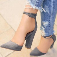 Pointed Toe Pumps with Ankle Strap 5 Colors