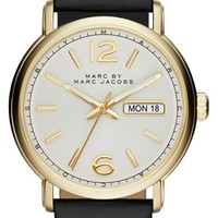Men's MARC BY MARC JACOBS 'Fergus' Leather Strap Watch, 42mm - Black/ Gold/ White