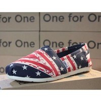 Toms Casual Slip Ons Womens Classic Canvas Shoes Navy Blue/Red Stars Stripe