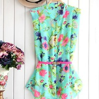 Cute Floral Print Sleeveless Chiffon Shirt