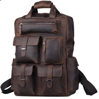 Rugged Handcrafted Buffalo Leather Briefcase / Backpack / Laptop Case - BP