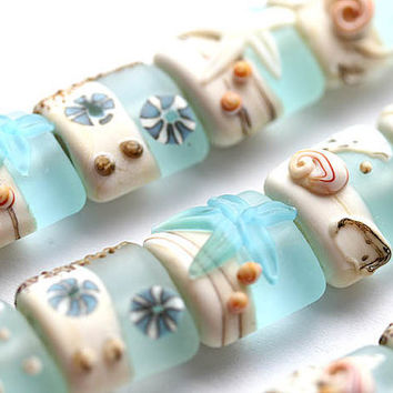 Blue Lampwork beads, Beachy handmade glass beads with shells and starfish, Seaglass etched set - SRA, by MayaHoney