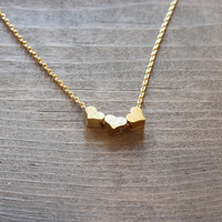 dainty hearts necklaces - gold