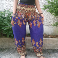 Dark Blue Paisley Print Trousers Yoga Pants Hippie Baggy Boho chic Fashion Style Clothing Rayon Gypsy Tribal Clothes Beach Summer pattern