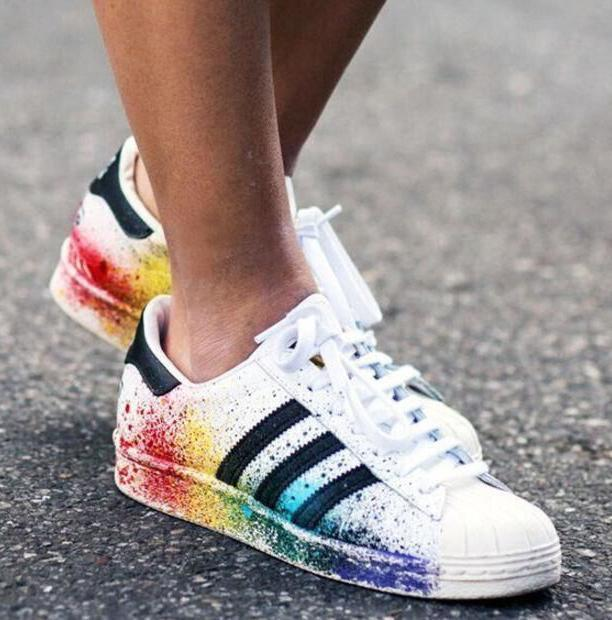 Image of Adidas Fashion Multicolor Inkjet Flats Sneakers Sport Shoes