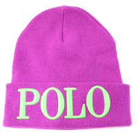 Polo Ralph Lauren Adult Cuff Ribbed Purple/Lime Beanie Hat