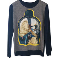 Navy Blue And Grey Printed Knitted Sweater