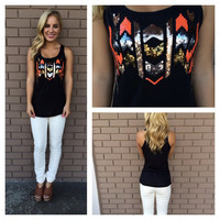 Bronze & Orange Sequin Tank - Black