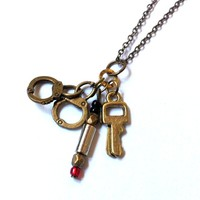 Doctor Who: Professor River Song handcuffs, red future sonic screwdriver, and TARDIS key necklace