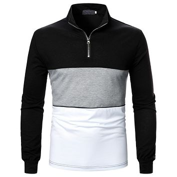 Men's Tricolor Stitching with Long-sleeved Shirts