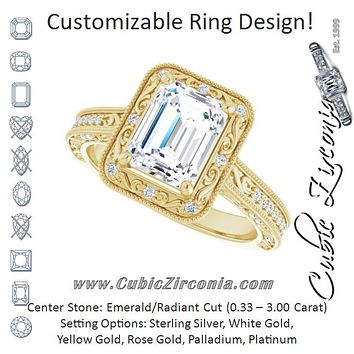 Cubic Zirconia Engagement Ring- The Eowyn (Customizable Vintage Artisan Emerald Cut Design with 3-Sided Filigree and Side Inlay Accent Enhancements)