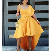 2020 new women's sexy sling open back big butterfly knot irregular dress