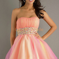 A Line Strapless Bridesmaid Dresses Organza Prom Dresses Cocktail Dress Party Dresses Homecoming Dresses