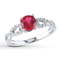 Lab-Created Ruby Ring 1/15 ct tw Diamonds 10K White Gold