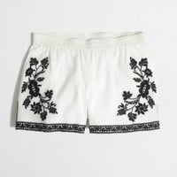 FACTORY EMBROIDERED COTTON GAUZE SHORT