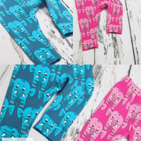 Elephant baby leggings, pink or blue printed baby leggings, cuffed ankles and elasticated waist, baby pants, girls leggings, boys leggings