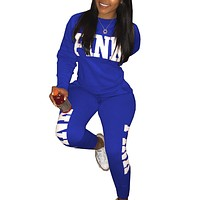 Vitoria's Secret Pink Fashion Letter Long Sleeve Shirt Sweater Pants Sweatpants Set Two-Piece Sportswear