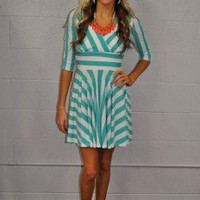 Blow My Whistle Ref Dress turquoise and white - Modern Vintage Boutique