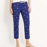 Whale Embroidered Ankle Pants