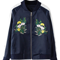 Navy Embroidery Detail Contrast Sleeve Bomber Jacket