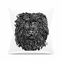 "Adriana De Leon ""The Leon"" Lion Illustration Outdoor Throw Pillow"