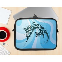 The Vector Blue Abstract Fish Ink-Fuzed NeoPrene MacBook Laptop Sleeve