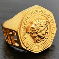 Versace Fashion New Human Head Women Men Ring Accessory Gold