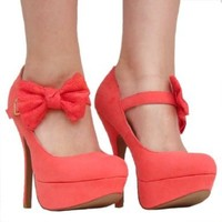 Women's Qupid Coral Mary Jane Bow High Heel Stiletto Pump Size 8.0 (Onyx74)